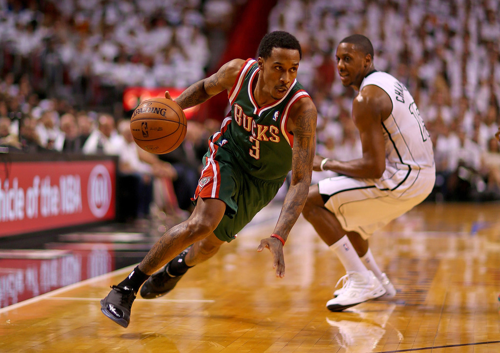 Brandon+Jennings+Milwaukee+Bucks+v+Miami