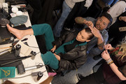 Gigi Hadid prepares backstage for Brandon Maxwell during New York Fashion Week: The Shows at American Museum of Natural History on February 08, 2020 in New York City.