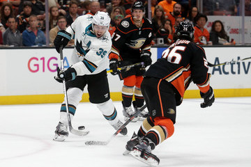 Brandon Montour San Jose Sharks v Anaheim Ducks - Game One