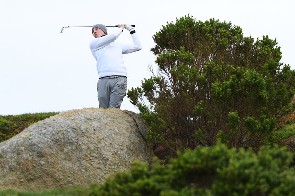 AT&T Pebble Beach Pro-Am - Round Two [shot,golf,recreation,tree,grass,golfer,tourism,tee,two,brandt snedeker,united states,pebble beach,california,monterey peninsula country club shore course,at t pebble beach pro-am,round]