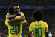 Roberto Firmino of Brazil celebrates after scoring the second goal of his team with teammates during the Copa America Brazil 2019 Semi Final match between Brazil and Argentina at Mineirao Stadium on July 02, 2019 in Belo Horizonte, Brazil.
