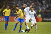 Casemiro of Brazil fights for the ball with Sergio Aguero of Argentina during the Copa America Brazil 2019 Semi Final match between Brazil and Argentina at Mineirao Stadium on July 02, 2019 in Belo Horizonte, Brazil.