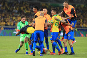 Players of Brazil celebrate after winning the Copa America Brazil 2019 Semi Final match between Brazil and Argentina at Mineirao Stadium on July 02, 2019 in Belo Horizonte, Brazil.
