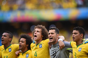 (L-R) Luiz Gustavo of Brazil, Marcelo, David Luiz, Julio Cesar and Thiago Silva sing the National Anthem before the 2014 FIFA World Cup Brazil Group A match between Brazil and Mexico at Castelao on June 17, 2014 in Fortaleza, Brazil.