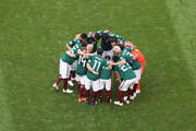 Mexico form a huddle prior to the 2018 FIFA World Cup Russia Round of 16 match between Brazil and Mexico at Samara Arena on July 2, 2018 in Samara, Russia.