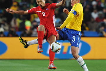 Lucio Jong Tae-Se Brazil v North Korea: Group G - 2010 FIFA World Cup