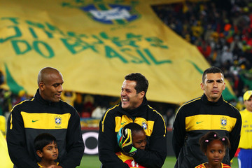 Maicon Julio Cesar Brazil v North Korea: Group G - 2010 FIFA World Cup