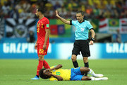 Referee Milorad Mazic checks Willian of Brazil conditions during the 2018 FIFA World Cup Russia Quarter Final match between Brazil and Belgium at Kazan Arena on July 6, 2018 in Kazan, Russia.
