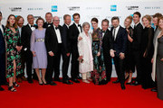 """(L-R) Amit Shah, Emily Bevan, guest, composer Nitin Sawhney, actress Camilla Rutherford, actor Hugh Bonneville, Bill Nicholson, producer Jonathan Cavendish, actor Andrew Garfield, Diana Cavendish, actress Claire Foy, actor Tom Hollander, director Andy Serkis, actors Miranda Raison, Ben Lloyd Hughes, Penny Downie, Ed Speleers and guest attend the European Premiere of """"Breathe"""" on the opening night gala of the 61st BFI London Film Festival on October 4, 2017 in London, England."""