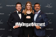 """(L-R) Ian Bohen, Megan Irminger, and President of Breguet North America Ahmad Shahriar attend the Breguet """"Classic Tour"""" at Carnegie Hall on July 12, 2018 in New York City."""