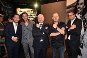 (L-R) Frederick Lau, Ken Duken, Breitling-CEO Georges Kern, Heino Ferch and Kai Wiesinger during the Breitling Roadshow '#LEGENDARYFUTURE' Navitimer 8 at Freiheizhalle on February 20, 2018 in Munich, Germany.