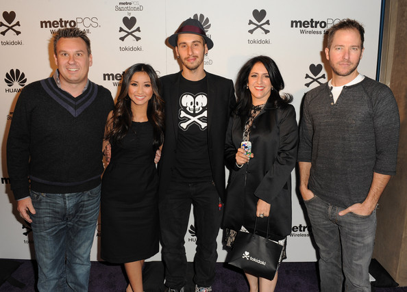 Brenda Song tokidoki President Ivan Arnold,  Event co-host, actress Brenda Song, Event co-host, tokidoki chief creative officer Simone Legno, tokidoki chief operating officer Pooneh Mohajer and KROQ's Stryker attend the launch of the MetroPCS Huawei M835 sanctioned by tokidoki at the tokidoki flagship store on November 3, 2011 in Los Angeles, California. Phones will be available in retail stores on November 18, 2011. 15% of all sales from the evening went to 1love.org, benefiting random acts of kindness everywhere.