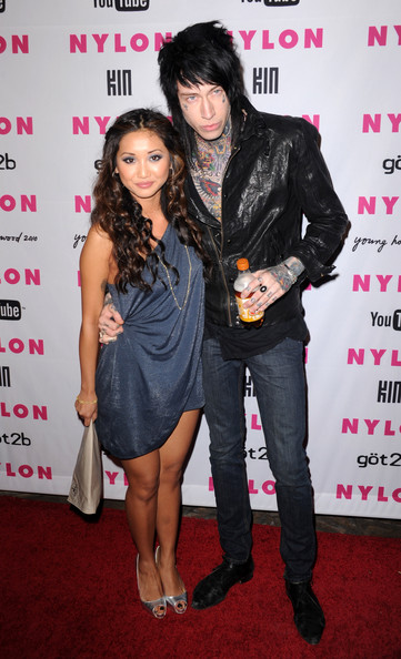 Trace Cyrus and Brenda Song - NYLON & YouTube Young Hollywood Party - Arrivals