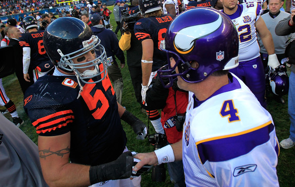 Brett Favre Brian Urlacher #54 of the Chicago Bears shakes hands with Brett Favre #4 of the Minnesota Vikings after a win by the Bears at Soldier Field on November 14, 2010 in Chicago, Illinois. The Bears defeated the Vikings 27-13.