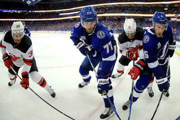 Brian Gibbons New Jersey Devils vs. Tampa Bay Lightning - Game One