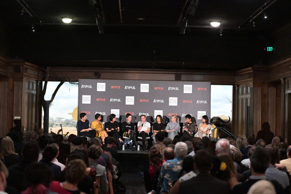 """Netflix """"Atypical"""" Season 3 Special Screening [season,stage,event,auditorium,audience,crowd,convention,performance,stage equipment,music venue,academic conference,robia rashid,stacey wilson hunt,keir gilchrist,amy okuda,atypical,l-r,screening,netflix,screening]"""