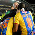 Ian Holloway Photos - Ian Holloway the Crystal Palace manager celebrates with Kagisho Dikgacoi and Mile Jedinak after winning the npower Championship play off semi final second leg between Brighton & Hove Albion and Crystal Palace at Amex Stadium on May 13, 2013 in Brighton, England. - Brighton & Hove Albion v Crystal Palace