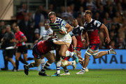 Jamie Roberts of Bath Rugby breaks through with the ball during the Gallagher Premiership Rugby match between Bristol Bears and Bath Rugby at Ashton Gate on August 31, 2018 in Bristol, United Kingdom.