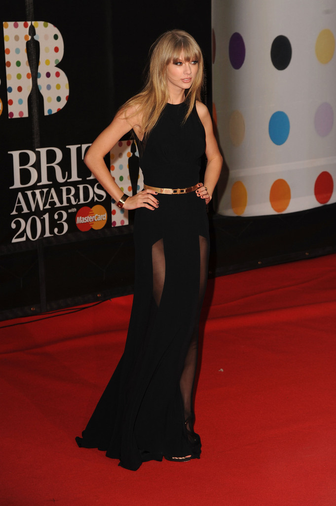 Taylor Swift attends the Brit Awards 2013 at the 02 Arena on February 20, 2013 in London, England.