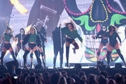 Little Mix perform on stage during the BRIT Awards 2016 at The O2 Arena on February 24, 2016 in London, England.
