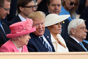 President of the United States, Donald Trump and First Lady of the United States, Melania Trump sit next to Queen Elizabeth II as they attend the D-Day Commemorations on June 5, 2019 in Portsmouth, England. The political heads of 16 countries involved in World War II joined Her Majesty, The Queen on the UK south coast for a service to commemorate the 75th anniversary of D-Day. Overnight it was announced that all 16 had signed a historic proclamation of peace to ensure the horrors of the Second World War are never repeated. The text has been agreed by Australia, Belgium, Canada, Czech Republic, Denmark, France, Germany, Greece, Luxembourg, Netherlands, Norway, New Zealand, Poland, Slovakia, the United Kingdom and the United States of America.