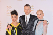 FKA Twigs, Jefferson Hack and Kate Bosworth pose in the Winners Room at the British Fashion Awards 2015 at London Coliseum on November 23, 2015 in London, England.