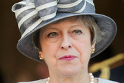 Britain's Prime Minister, Theresa May arrives at Bayeux Cathedral on June 06, 2019 in Bayeux, France. Veterans, families, visitors, political leaders and military personnel are gathering in Normandy to commemorate D-Day, which heralded the Allied advance towards Germany and victory about 11 months later.