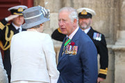 Britain's Prime Minister, Theresa May greets Prince Charles, Prince of Wales outside Bayeux Cathedral  on June 06, 2019 in Bayeux, France. Veterans, families, visitors, political leaders and military personnel are gathering in Normandy to commemorate D-Day, which heralded the Allied advance towards Germany and victory about 11 months later.