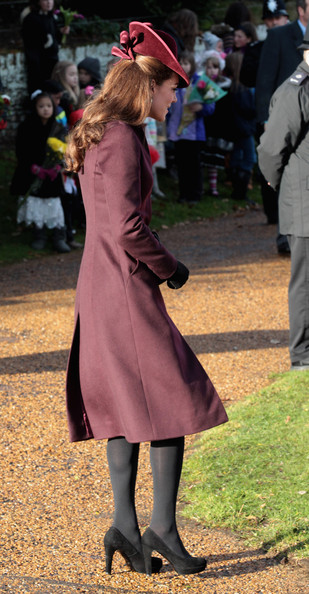 Catherine, Duchess of Cambridge leaves Sandringham Church after the traditional Christmas Day service at Sandringham on December 25, 2011 in King's Lynn, England.  The Queen and the Duke of Edinburgh traditionally lead the royals in attending a church service at Sandringham Church on Christmas Day. It is the Duchess of Cambridge's first Christmas at Sandringham after her marriage to Prince William, Duke of Cambridge in April of this year. This year the Duke of Edinburgh missed the service as he is in Papworth Hospital after having cardiac surgery to fit a stent in his coronary artery.