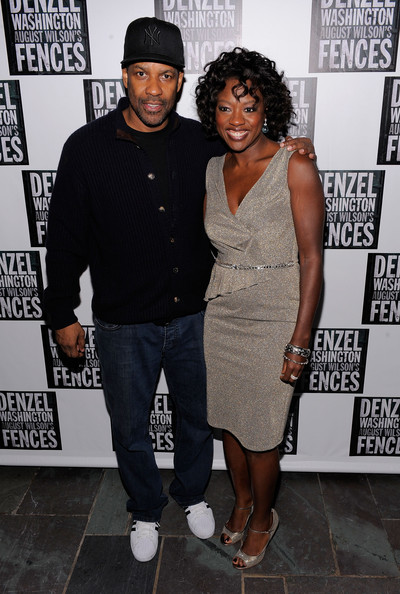 "Actors Denzel Washington and Viola Davis pose for photos at the Broadway Opening Night After Party for ""Fences"" at the Bryant Park Hotel on April 26, 2010 in New York City."