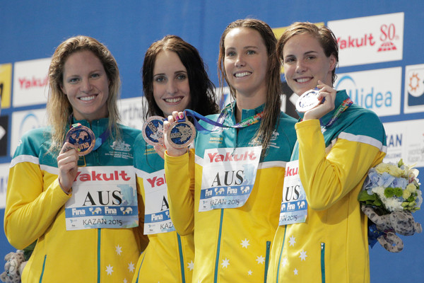 Swimming - 16th FINA World Championships: Day Sixteen [medal,award,gold medal,recreation,team,silver medal,bronze medal,competition event,sports,competition,medallists,emily seebohm,taylor mckeown,emma mckeon,bronte campbell,l-r,kazan arena,fina world championships,medal ceremony,medley relay final]
