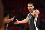 Tyler Zeller #44 of the Brooklyn Nets celebrates a first half basket while playing the Detroit Pistons at Little Caesars Arena on January 21, 2018 in Detroit, Michigan. NOTE TO USER: User expressly acknowledges and agrees that, by downloading and or using this photograph, User is consenting to the terms and conditions of the Getty Images License Agreement.