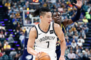 Jeremy Lin #7 of the Brooklyn Nets dribbles the ball against the Indiana Pacers at Bankers Life Fieldhouse on October 18, 2017 in Indianapolis, Indiana.  NOTE TO USER: User expressly acknowledges and agrees that, by downloading and or using this photograph, User is consenting to the terms and conditions of the Getty Images License Agreement.