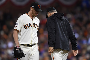 Bruce Bochy Division Series - Chicago Cubs v San Francisco Giants- Game Four