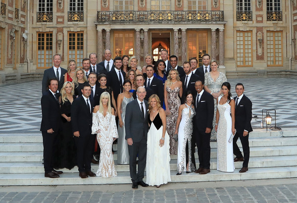 2018 Ryder Cup - Gala Dinner [photograph,social group,event,ceremony,formal wear,wedding,bride,suit,dress,tuxedo,players,wives,dinner,steps,team usa,palace of versailles,versailles,france,partners,ryder cup]