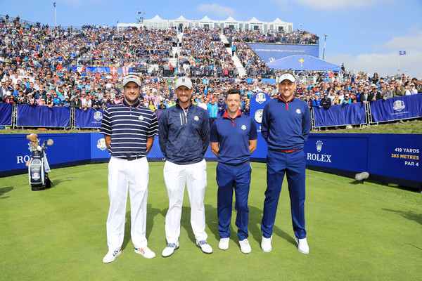2018 Ryder Cup - Afternoon Foursome Matches [sport venue,product,championship,team,competition event,stadium,fan,sports,recreation,ball game,bubba watson,ian poulter,rory mcilroy,webb simpson,foursome matches,ryder cup,afternoon foursome matches,united states,europe,le golf national]