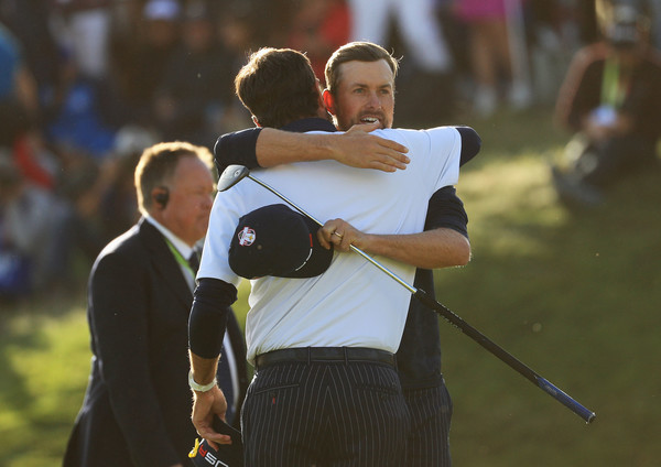 2018 Ryder Cup - Afternoon Foursome Matches [golf,golf club,fourball,recreation,championship,interaction,fun,competition event,golfer,photography,webb simpson,bubba watson,ryder cup,foursome matches,victory,afternoon foursome matches,united states,le golf national,paris,france]