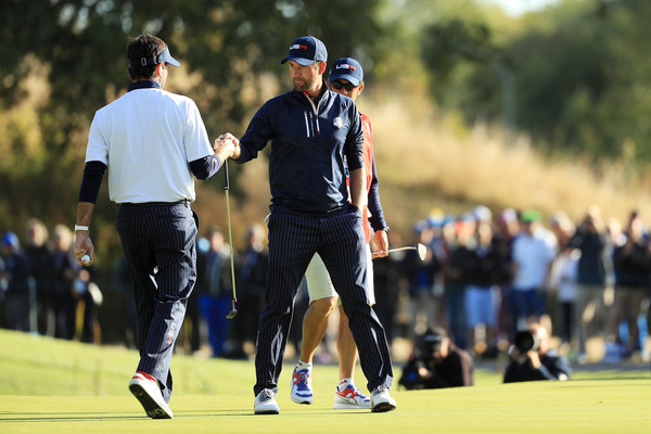 2018 Ryder Cup - Afternoon Foursome Matches [golf,professional golfer,golfer,fourball,competition event,sport venue,sports,championship,recreation,tournament,webb simpson,bubba watson,ryder cup,foursome matches,afternoon foursome matches,united states,le golf national,paris,france]