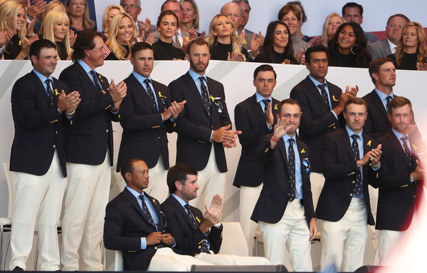 2018 Ryder Cup - Opening Ceremony [social group,team,event,uniform,crew,suit,members,patrick reed,tony finau,back l-r,front l-r,states,team,ryder cup,ceremony,opening ceremony]