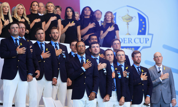 2018 Ryder Cup - Opening Ceremony [team,event,crew,uniform,competition,members,jim furyk,phil mickelson,patrick reed,back l-r,states,team,ryder cup,ceremony,opening ceremony]