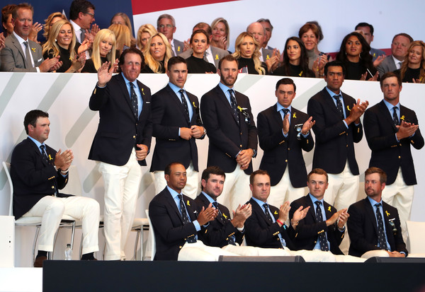 2018 Ryder Cup - Opening Ceremony [social group,event,team,management,suit,white-collar worker,formal wear,members,patrick reed,tony finau,back l-r,front l-r,states,team,ryder cup,ceremony,opening ceremony]