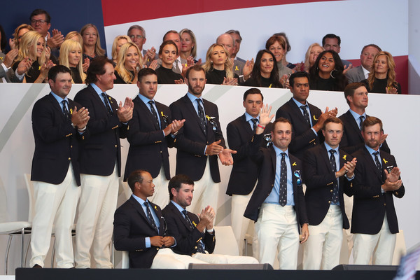 2018 Ryder Cup - Opening Ceremony [team,social group,event,competition,competition event,uniform,ceremony,members,patrick reed,tony finau,back l-r,front l-r,states,team,ryder cup,ceremony,opening ceremony]