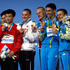 Illya Kvasha Photos - (L-R) Silver medalists Yuan Cao and Siyi Xie of China gold medalists Evgenii Kuznetsov and Ilia Zakharov of Russia and bronze medalists Oleg Kolodiy and Illya Kvasha of Ukraine pose with their medals following the Men's Diving 3m Sychro Springboard Final on day two of the Budapest 2017 FINA World Championships on July 15, 2017 in Budapest, Hungary. - Budapest 2017 FINA World Championship - Day 2