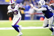 Chris Ivory #33 of the Buffalo Bills runs the ball in the fourth quarter against the Indianapolis Colts at Lucas Oil Stadium on October 21, 2018 in Indianapolis, Indiana.