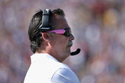 Head coach Jeff Fisher watches his team play in the game against the Buffalo Bills at the Los Angeles Memorial Coliseum on October 9, 2016 in Los Angeles, California.