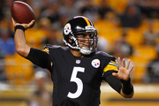 Bruce Gradkowski #5 of the Pittsburgh Steelers makes a pass during the third quarter against the Buffalo Bills at Heinz Field on August 16, 2014 in Pittsburgh, Pennsylvania.