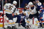 Jaroslav Halak #41 of the New York Islanders makes the second period save against the Buffalo Sabres at the Nassau Veterans Memorial Coliseum on April 4, 2015 in Uniondale, New York.