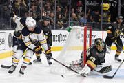 Marc-Andre Fleury #29 of the Vegas Golden Knights blocks a shot by Casey Mittelstadt #37 of the Buffalo Sabres in the third period of their game at T-Mobile Arena on October 16, 2018 in Las Vegas, Nevada. The Golden Knights defeated the Sabres 4-1.