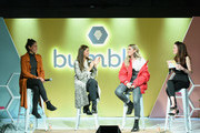 Singer/songwriters Jennifer Decilveo, Ali Tamposi, singer Fletcher and  Head of Brand at Bumble Alexandra Williamson speak onstage during Bumble Presents: Empowering Connections at Fair Market on March 9, 2018 in Austin, Texas.