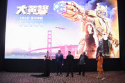 Hailee Steinfeld, John Cena, Travi Knight and Lorenzo di Bonaventura attend a fan screening for Paramount Pictures' film 'Bumblebee' on December 14, 2018 in Beijing, China.